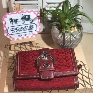 Coach Signature & Red Leather Wallet